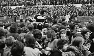 The victorious Barbarians scrum-half Gareth Edwards is chaired off at the end of the 23-11 win over New Zealand at the Arms Park in 1973.