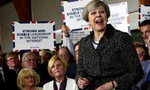 Theresa May visiting Bridgend recently