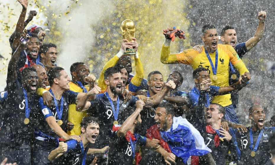 France celebrate after winning the World Cup in 2018.