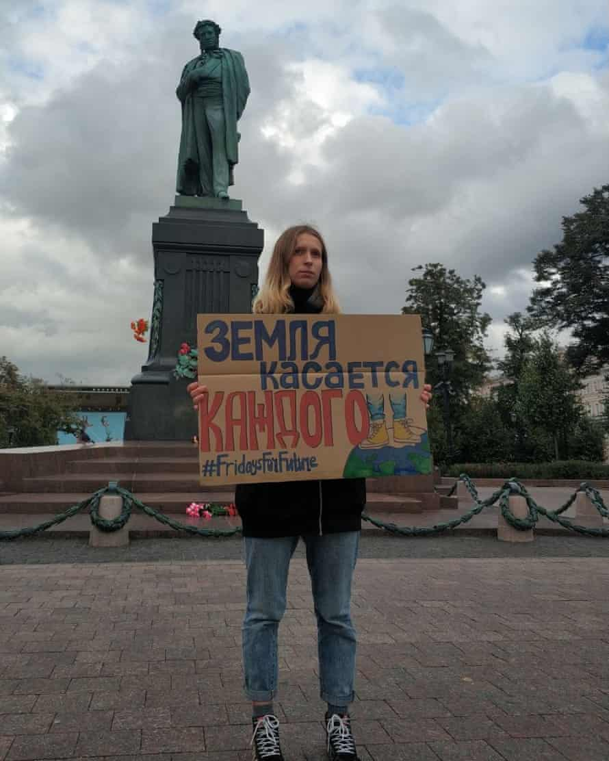 A climate striker in Pushkin Square, Moscow