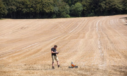 Joe Allnutt of the Small Robot Company at Meon Springs farm in Hampshire.