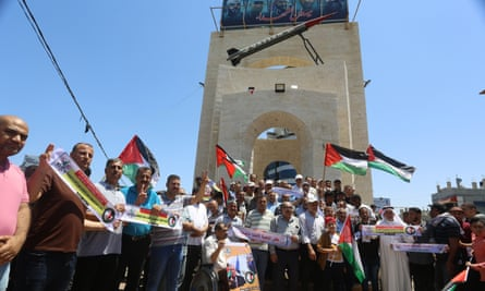 A protest in Gaza against Israel's plan to annex part of the West Bank