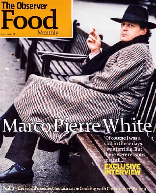 Observer Food Monthly cover with Marco Pierre White in 2001.