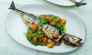 When the boat comes in: grilled mackerel with green chutney.