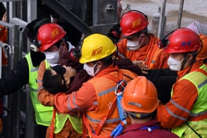 Miner is carried out wearing a blindfold