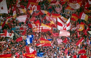 """The """"Travelling Kop"""" fill Wembley during the FA Cup Final between Liverpool and Everton."""