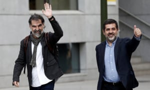 President of the Omnium Cultural Jordi Cuixart (L) and president of the Catalan Natioanl Assembly Jordi Sanchez (R) arrive to the Audiencia Nacional Court to testify within investigation after Catalonia's illegitimate Independence referendum in Madrid, Spain