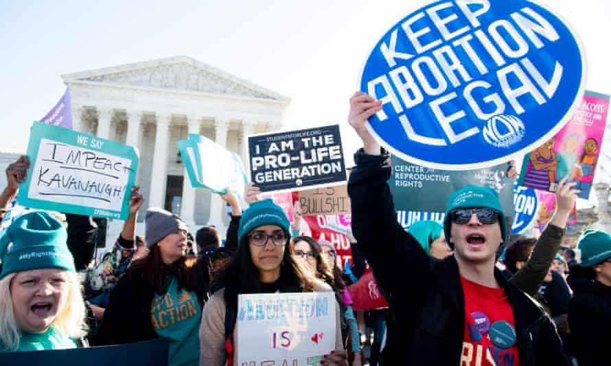 Pro-choice activists protest outside the US supreme court in Washington in March.