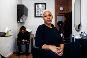 Priscilla Graves at the Aicha's African braiding salon in Harlem, Manhattan, New York.