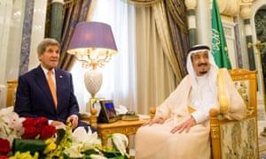 John Kerry with Saudi Arabia's King Salman in Riyadh