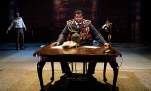 Tobi Bamtefa as Idi Amin, with Daniel Portman as Nicholas Garrigan.