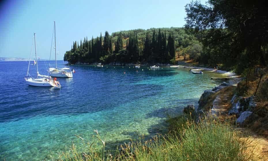 yachts in Kalimi bay, Corfu, Greece.