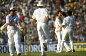 Allan Border of Australia is congratulated by teammates after taking the wicket of the England captain, Mike Gatting, in the 1987 final.