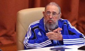 Fidel Castro during the closure of the 7th Cuban Communist party congress at the Palacio de las Convenciones in Havana on Tuesday.