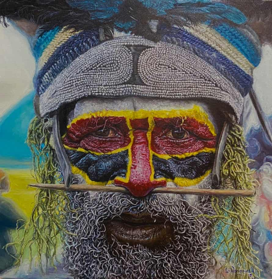 """Papua New Guinea artist and National Art School student Lesley Wengembo's painting. """"Highlander"""""""