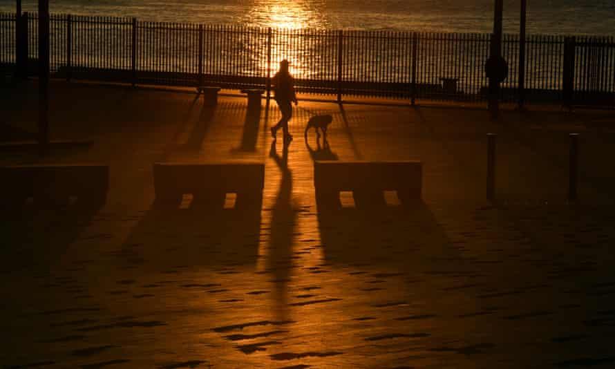 Un bărbat își plimbă câinele în zori la cheiul circular