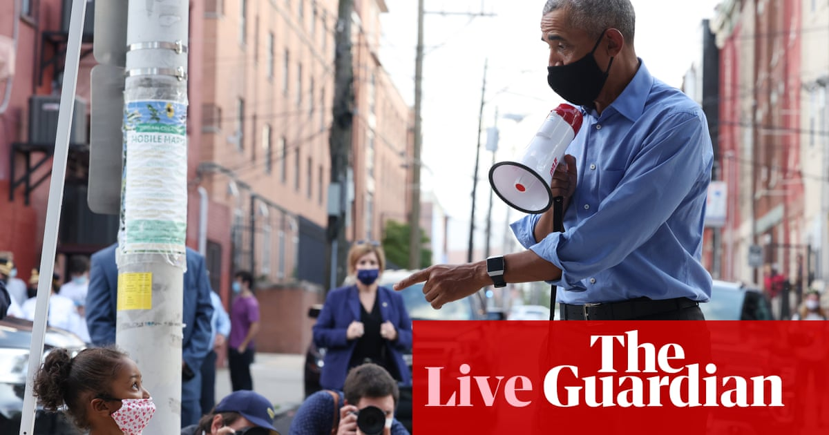 'Remember what this country can be': Obama stumps for Biden in swing state Pennsylvania – live