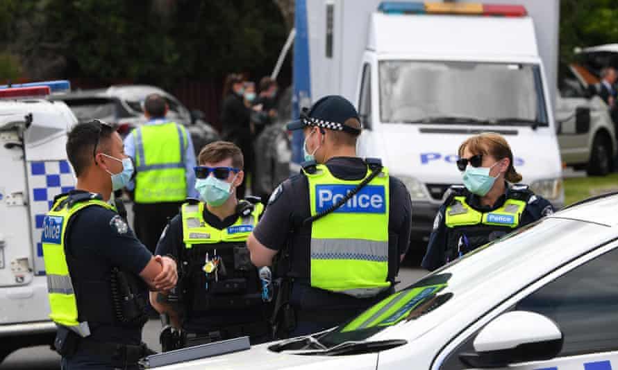 Police at the house in Tullamarine