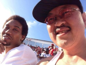 Mario Woods, seen with a friend at Levi's Stadium last year, was a big football fan.