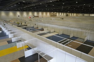 Inside the the newly built Nightingale Hospital London for Covid-19 at the Excel in London.