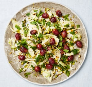 Fennel salad with pistachios and oven-dried grapes Food styling: Emily Kydd Prop styling: Jennifer Kay