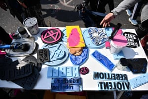 Ink stamps used by protesters from Extinction Rebellion