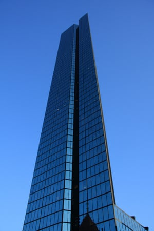 The John Hancock Tower in Boston in a blue hue which matched the sky on the day we visited.
