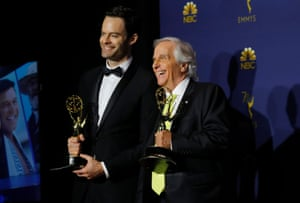 """Bill Hader (L) poses with his Oustanding Lead Actor in a Comedy Series award for """"Barry"""" and Henry Winkler with his Outstanding Supporting Actor in a Comedy Series award, also for """"Barry."""""""