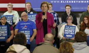 Democratic presidential candidate Elizabeth Warren speaks during a town hall meeting on Saturday in Muscatine, Iowa.