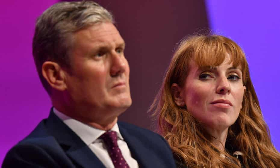 Keir Starmer and deputy leader Angela Rayner at the Labour party conference on Sunday.