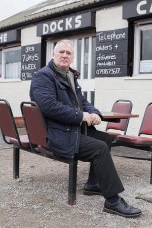 Unite union representative Dave Bowyer outside the Docks Cafe.