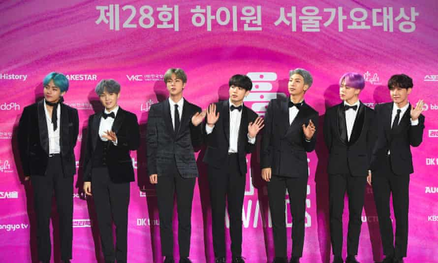 K-pop band BTS on the red carpet at the 28th Seoul Music awards in Seoul, 15 January 2019.