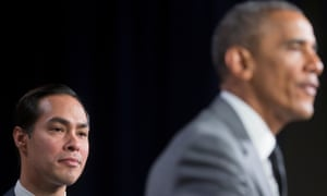 Castro with Barack Obama in 2014. Castro served as the housing secretary in the Obama administration.