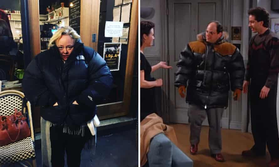 (L) Guardian columnist Brigid Delaney lost in a puffy jacket; (R) George Costanza on Seinfeld doing the same