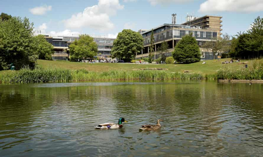 University of Bath exterior showing a large pond with ducks, a grassy verge and university buildings.