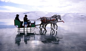 Horse-drawn sleigh tours on ice over Lake Cildir in Ardahan
