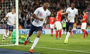 Marcus Rashford celebrates after scoring England's opener in the 54th minute. It proved to be the winner.