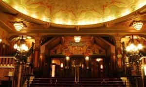 The foyer of the art deco Pathe Tuschinski Cinema in Amsterdam.