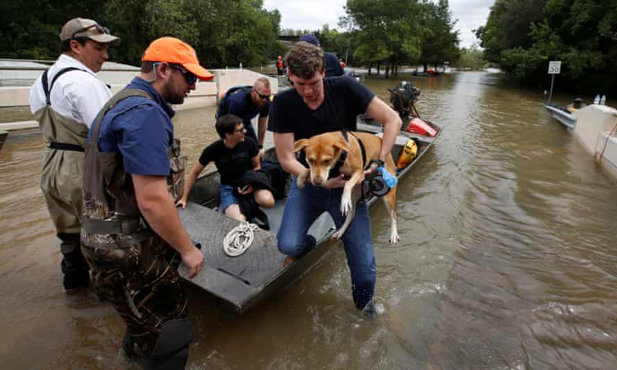 Residents flee from the rising waters after Hurricane Harvey.