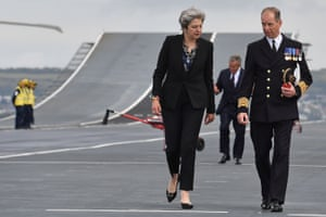 Theresa May talks to Jerry Kyd, captain of the ship.