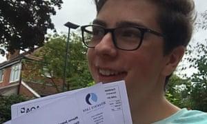 Joe Lena collecting GCSE results.