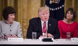 Donald Trump sits beside Republican senators Susan Collins and Lisa Murkowski, both of whom have deep reservations about the bill.
