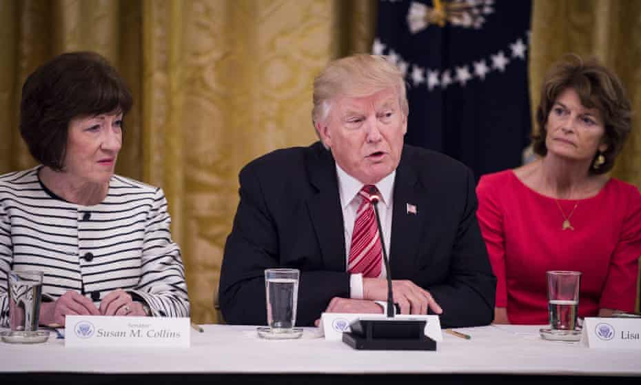 Susan Collins, left, and Lisa Murkowski, right, are two of the Republican senators who could potentially break ranks and vote with Democrats on aspects of Donald Trump's impeachment trial.