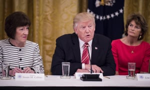 Donald Trump is flanked by Susan Collins, left, and Lisa Murkowski at a White House meeting.