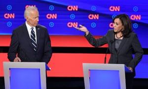Joe Biden watches as Kamala Harris speaks during a Democratic primary debate on 31 July 2019.