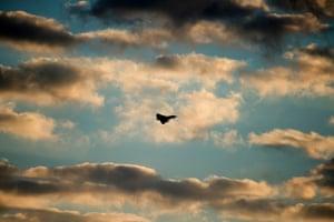 A Typhoon warplane flies over RAF Akrotiri, a British air base near the coastal city of Limassol, Cyprus