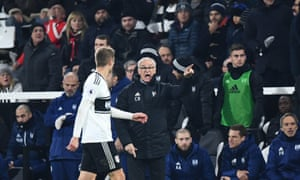 Fulham manager Claudio Ranieri directs Maxime Le Marchand of Fulham to play the ball into the corner during injury time in their 3-2 win over Southampton.