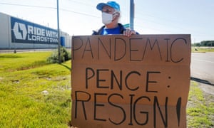Werner Lange of Niles, Ohio stands in protest outside of the Lordstown Motors Corp. where US vice president Mike Pence was speaking following the unveiling of Lordstown Motors' new Endurance all-electric pickup truck in Warren, Ohio.