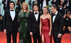 Best in show… Marriage Story's Adam Driver, Laura Dern, director Noah Baumbach, Scarlett Johansson and producer David Heyman on the Venice red carpet.