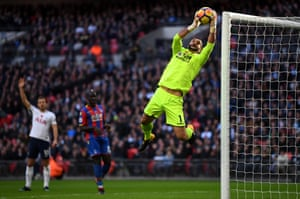 Julian Speroni of Crystal Palace leaps to make a save as Tottenham beat Crystal Palace 1-0 at Wembley.